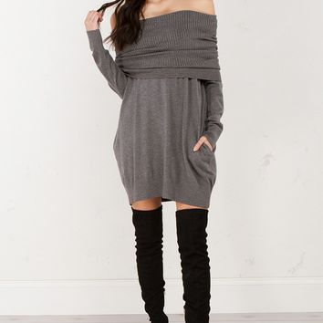 Cowl Neck Sweater Dress in Grey and Black