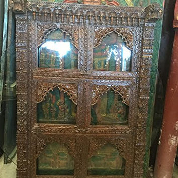 Antique Indian Arched Mirror Frame Jharokha Wall Decor Patina Asian Decor Accessories