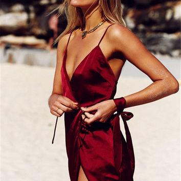 Hot Sale Sleepwear Sexy V-neck Spaghetti Strap One Piece Dress [10467567636]