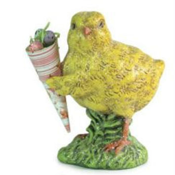 Easter Figure - Baby Chick Carrying Cone Filled With Eggs