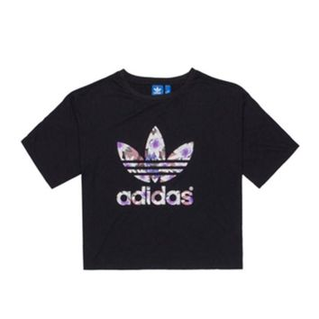 DCCKH3L Adidas' Women Casual lotus Clover Letter Print Short Sleeve Crop Tops T-shirt