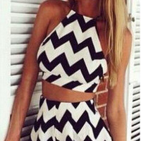 Chevron Crop Top and High Waist Shorts Set