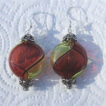 Murano Blown Glass Penny Bead Earrings, Red and Citrine Swirl with Bali Sterling Bead Caps, Italy, Italian Glass, Art Nouveau, Mediterranian