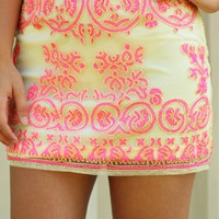 Before The Goodbye Skirt: Ivory/Neon Pink