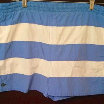 Lacoste Izod, big gator, board shorts, swim trunks, alligator, striped, large, 1980