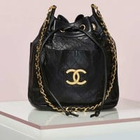 Vintage Chanel Quilted Drawstring Leather Bag