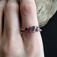 Pink Tourmaline and Garnet Ring - Statement Ring - January Birthstone - Raw Stone Ring - Copper Ring - Semiprecious Stone Ring - SIZE 8