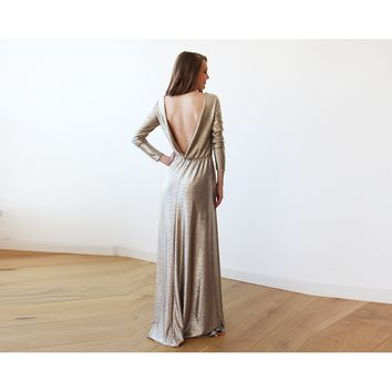 Gold Backless maxi dress with long sleeves 1097