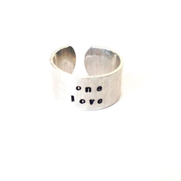 One Love Ring -  Hand Stamped Jewelry - Heart - Give Back - Support The One Love Movement