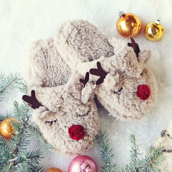Sleepy Reindeer Slippers