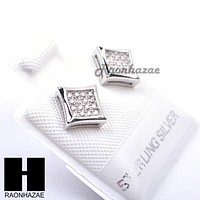 Iced Out Sterling Silver .925 Lab Diamond 7mm Square Push Back Earring SE015S