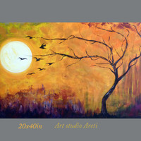 Modern painting,acrylic large abstract landscape, original paintings, tree birds. Ready to hang. Free Shipping.