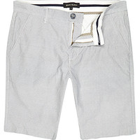 River Island MensEcru thin stripe long shorts