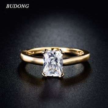 BUDONG Fashion Brand Large White Crystal Wedding Ring for Women 2017 Gold-Color Simple Zirconia Engagement Rings Jewelry R142