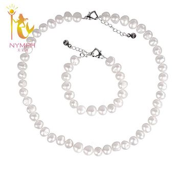 [NYMPH ] natural Baroque pearl jewelry sets 8-9mm Freshwater trendy pearl necklace & bracelet party wedding for women St102