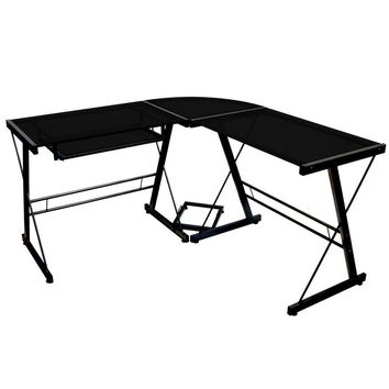 Black Metal & Glass Corner L-Shaped Computer Desk