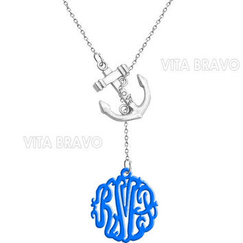 Monogram Necklace Anchor Hand Made Custom Blue Initials Personalized H Love Jewelry  Acrylic