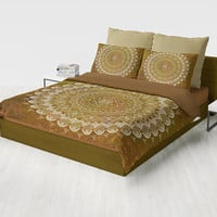 Golden Brown Mandala Duvet Cover or comforter -  complex  geometric boho chic bedding