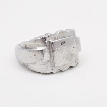 Rugged Men's Ring, Machinist Design, Steel Alloy, Hand Crafted, Vintage Men's Pinky Ring