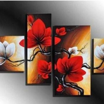 Red Flowers modern abstract oil paintings 100% handpainted, 4 panel set FRAMED