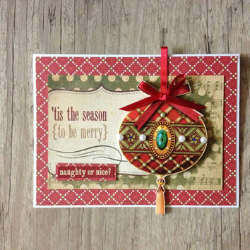 Beautiful Christmas card - new year greeting card handmade scrapbooking - red green christmas tree - europeanstreetteam