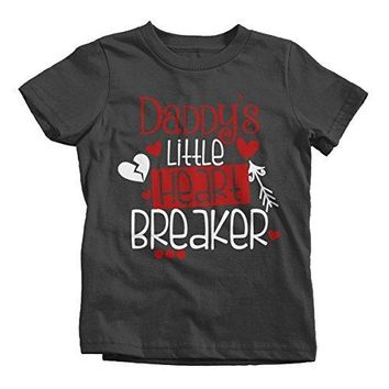 Shirts By Sarah Girl's Daddy's Little Heart Breaker Kids Funny Valentine's Day T-Shirt