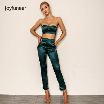 Joyfunear Two Piece Set Strapless Crop Top And Full Length Summer Sexy Backless Zipper Fly 2 PCS Outfits Women Clothing