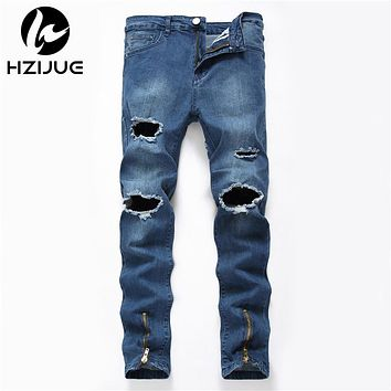 Men Designer Repaired Distressed  Straight Slim Ripped Hole Denim Patchwork Jeans