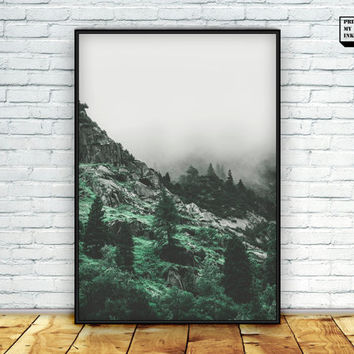 Mountain printable, forest poster, mountain wall art, foggy print, landscape, photography, digital print, mountain art, nature photo print