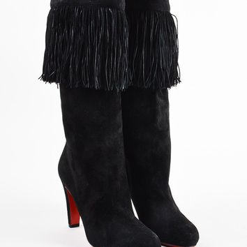 HCXX Christian Louboutin Black Suede Fringe High Heel   Majung   Boots