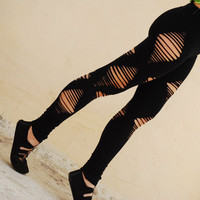 Cut Out Black Leggings