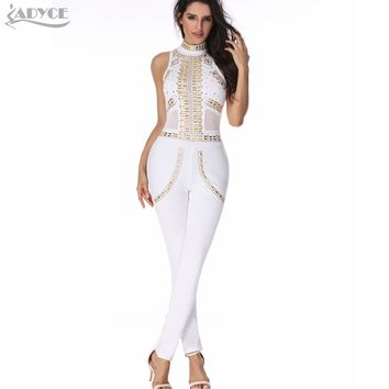 2017 new sexy women rompers bodysuit white luxury sequined mesh patchwork bodycon hot lady runway catsuit evening party jumpsuit