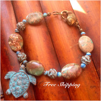 Copper Jewelry / Mykonos Greek Casting / Greek Sea Turtle Charm Bracelet / Aqua Beaded Charm Bracelet / Gemstone Bracelet / Gift Ideas
