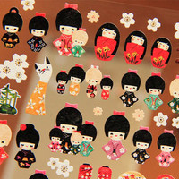 Kawaii Japanese doll sticker Japan national costume Kimono ethnic mini doll cute Japanese girl lovely dresses deco diary 2014 scrapbooking