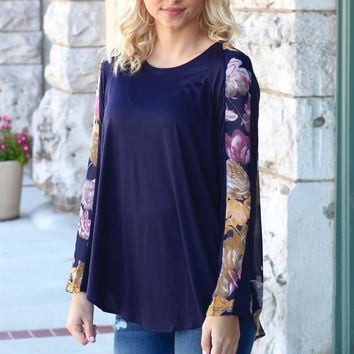 Shift Into Floral Long Sleeve {Navy}