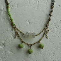Botanical Necklace with Stones+Czech Glass+Leather+Brass! ~3 Peas~ Romantic Peas Green Naturalistic Necklace in Pea Green+Tan Green+Brass!