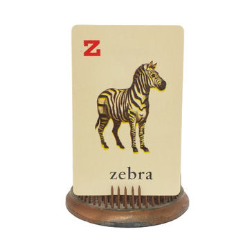 "Picture Vocabulary Flashcard, Vintage Alphabet Flash Card, Zebra Illustration Letter ""Z"", ABC's, Scrapbooking, Collage, Single Swap Ephemera"