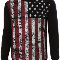LE3NO Mens Casual American Flag Crew Neck Sweathirt