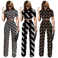 Unique style women set summer print 2 pieces outfits for women tops and wide leg pants empire tracksuit MU7070