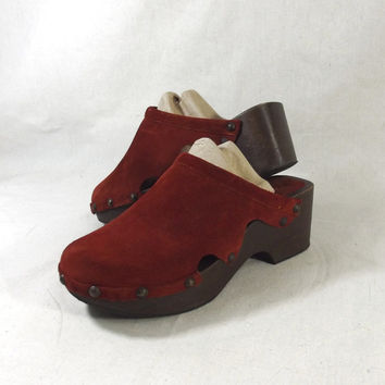 Michael Kors Rust Suede Wooden Clogs Shoes Sz 9