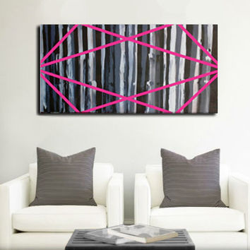 Original- Large abstract painting on wood panel. Fuchsia, black, and white. Home decor. Art with a cause. Canvas art 24x48""