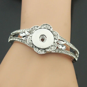Vintage crystal flower Snap Bracelet&Bangles 18mm snap button jewelry B326 Women's silver charm bracelet DIY bangles for men
