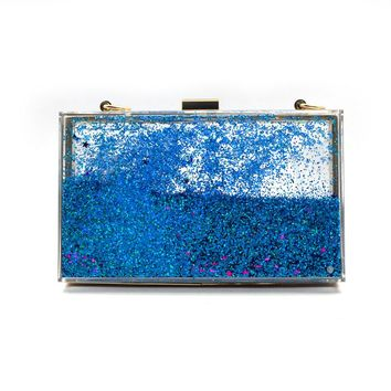 New Fashion Liquid Quicksand Acrylic Clutch Evening Bags Chain Women Shoulder Bags Hard Box Sequins Wedding Party Purse Handbags