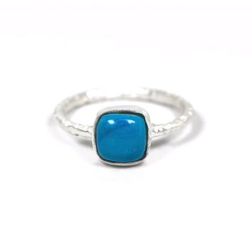 Sterling Silver Matte Finish Freeform Cushion Turquoise Stackable Ring