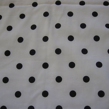 Vintage Fabric White with Black Polka Dots - 2 YARDS, 21 INCHES