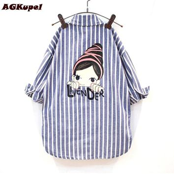 AGKupel Spring Autumn Baby Girls Blouse Children Long Sleeves Cotton Blouses Vertical Stripes Full Striped Shirts Girls Clothes