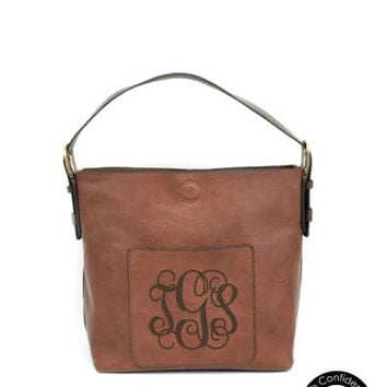 Monogram Slouchy Hobo Handbag / Vegan Leather Hobo / Brown Hobo Bag