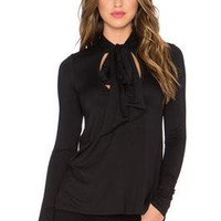 Black Slim Strappy Solid Long Sleeve Shirt