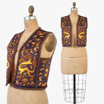 Vintage 70s YSL Vest / 1970s Yves Saint Laurent Embroidered Silk Dragon Waistcoat