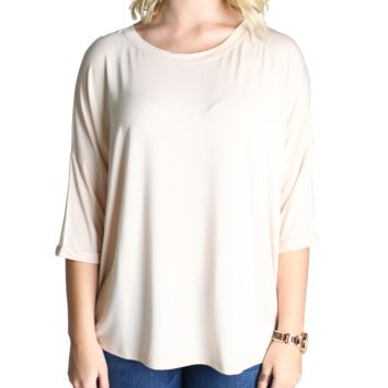 Cream Piko Loose Sleeve Top